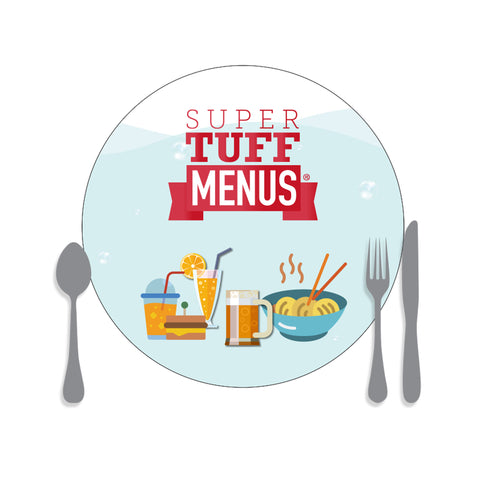 A drawing of our large round placemat washable SuperTuffMenus along side drawings of cutlery to give the size impression