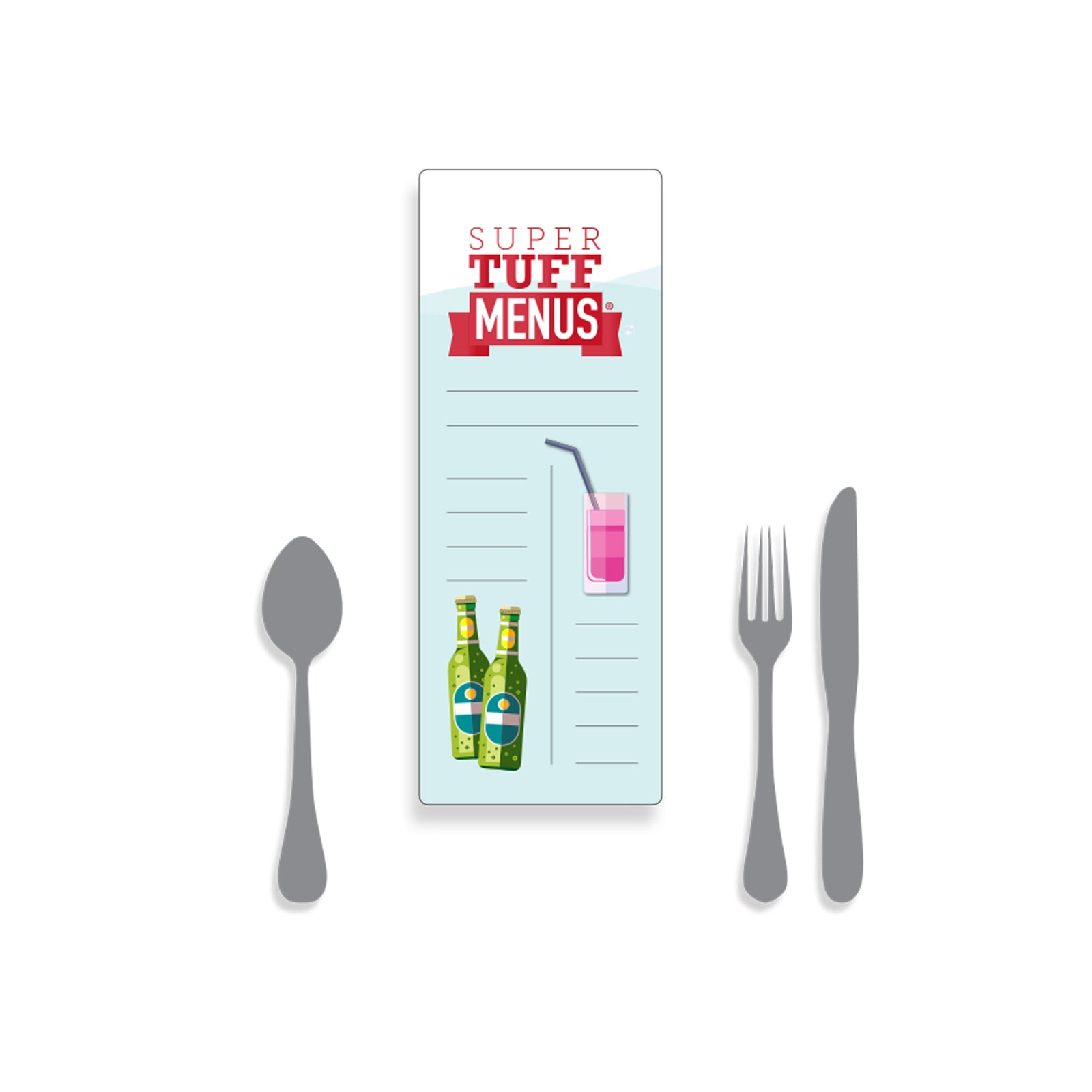 A drawing of our half A4 long thin menu  long lasting and washable SuperTuffMenus along side a knife, fork and spoon to give the size context