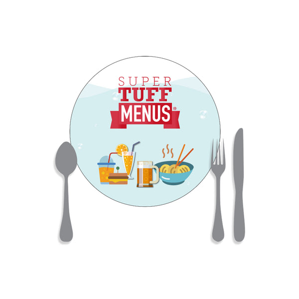 A drawing of our small round placemat SuperTuffMenus along side drawings of cutlery to give the size impression