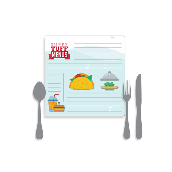 A drawing of our small square SuperTuffMenus along side drawings of cutlery to give the size impression