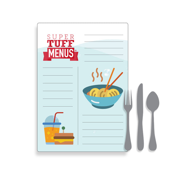 Illustration of Tabloid sized Menu with cutlery to demonstrate size
