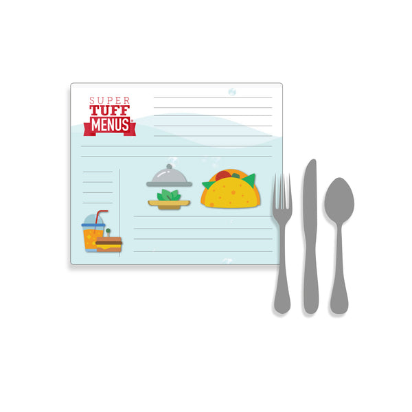 A landscape image of the Government Letter sized SuperTuffMenu with cutlery to one side to give size context. These menus are washable and last longer