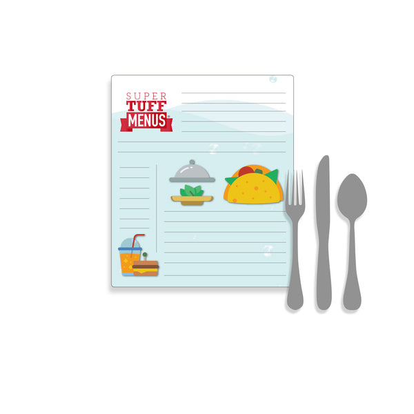 A portrait image of the Government Letter sized SuperTuffMenu with cutlery to one side to give size context. These menus are washable and last longer