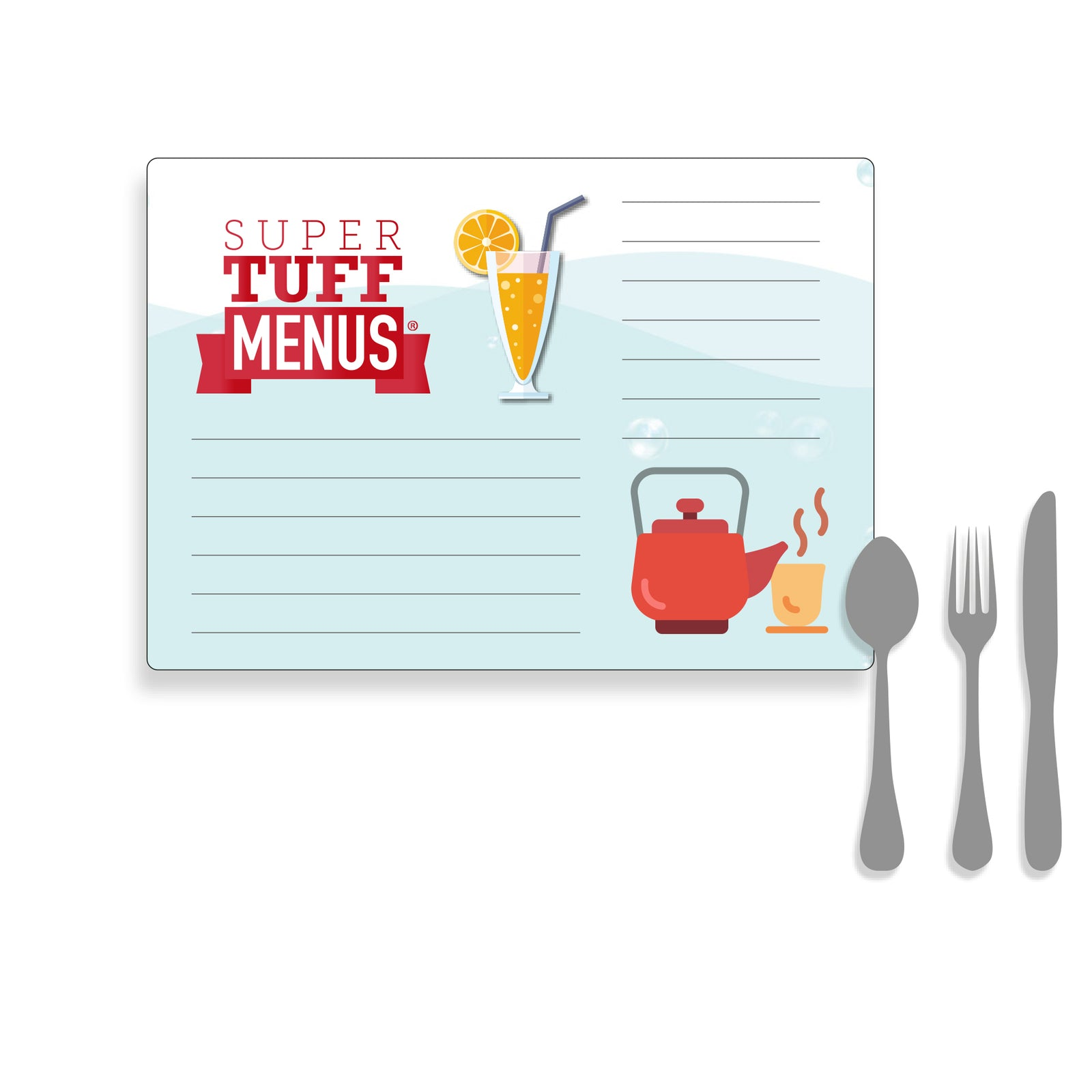 Illustration of Ledger sized Menu with cutlery to demonstrate size