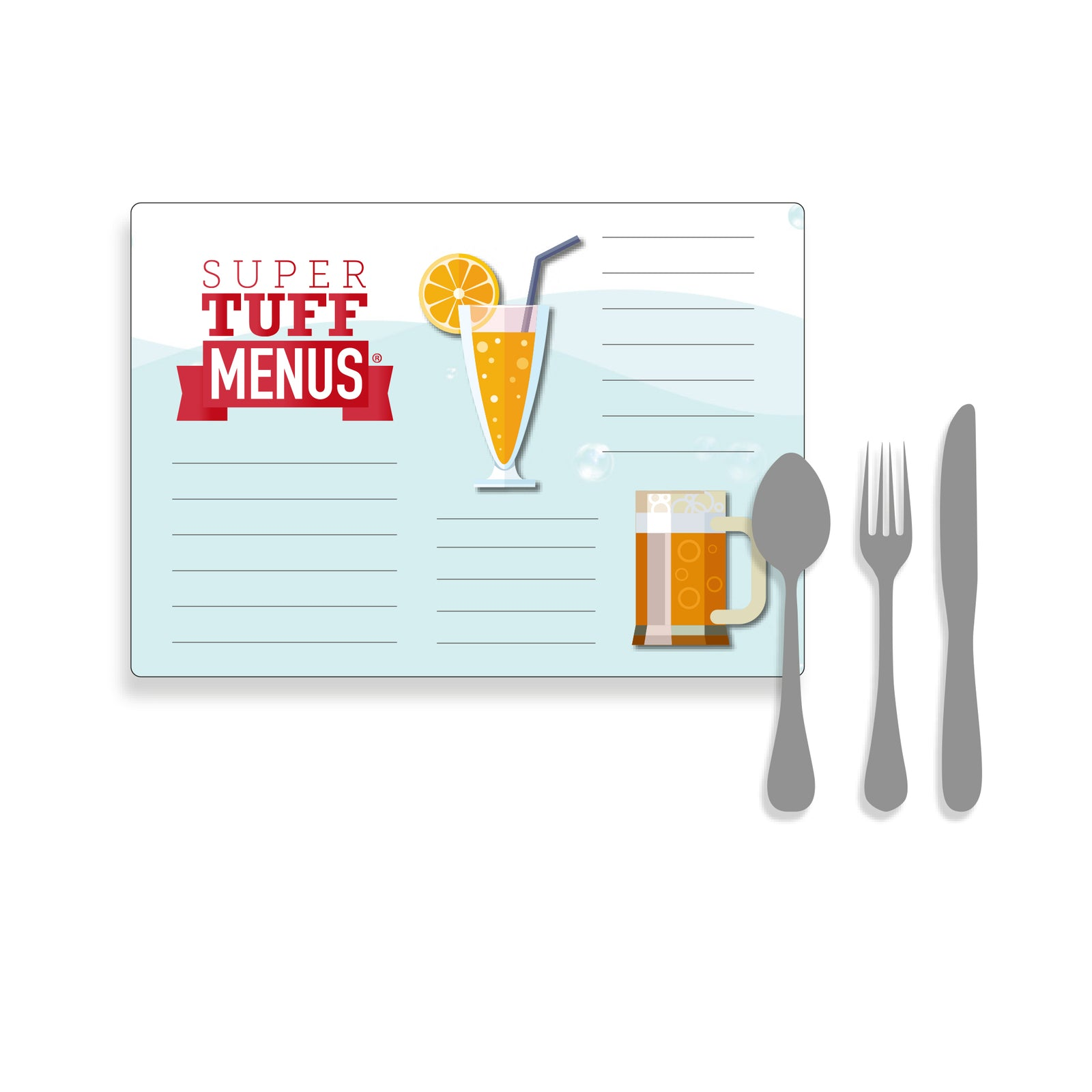 Landscape Legal sized illustration of a menu with cutlery to give a size context