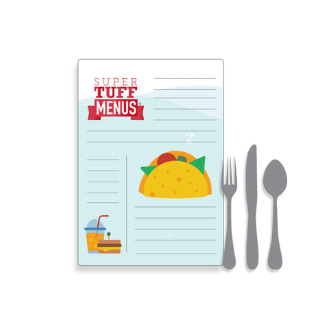Portrait Legal sized illustration of a menu with cutlery to give a size context
