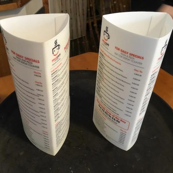 Two 3sided table talkers from Smile Cafe