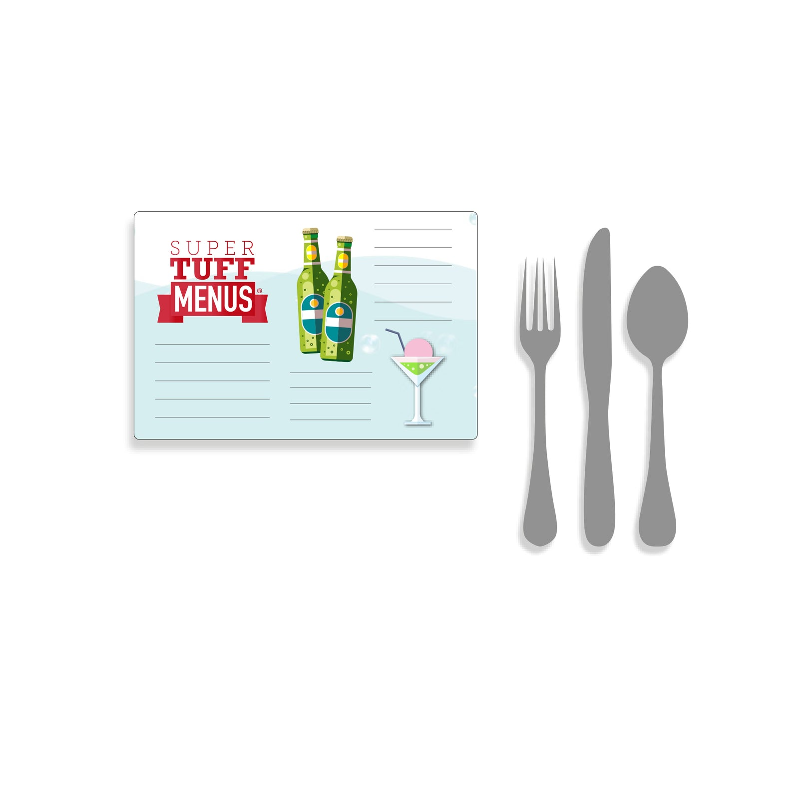 A landscape Half Letter sized drawing of our SuperTuffMenus beside images of cutlery to give the size impression. These menus are washable.