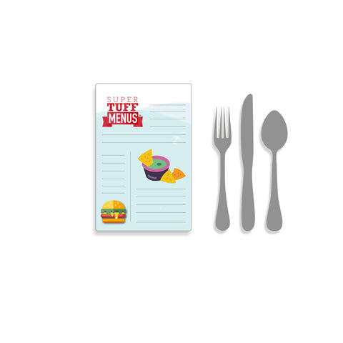A portrait Half Letter sized drawing of our SuperTuffMenus beside images of cutlery to give the size impression. These menus are washable.
