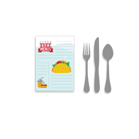 A portrait Junior Legal sized drawing of our washable SuperTuffMenus along side drawings of cutlery to give the size impression