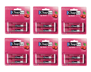 Chap-Ice Lip Balm - Soothes, Protects and Moisturizes - 12 sticks (Cherry)