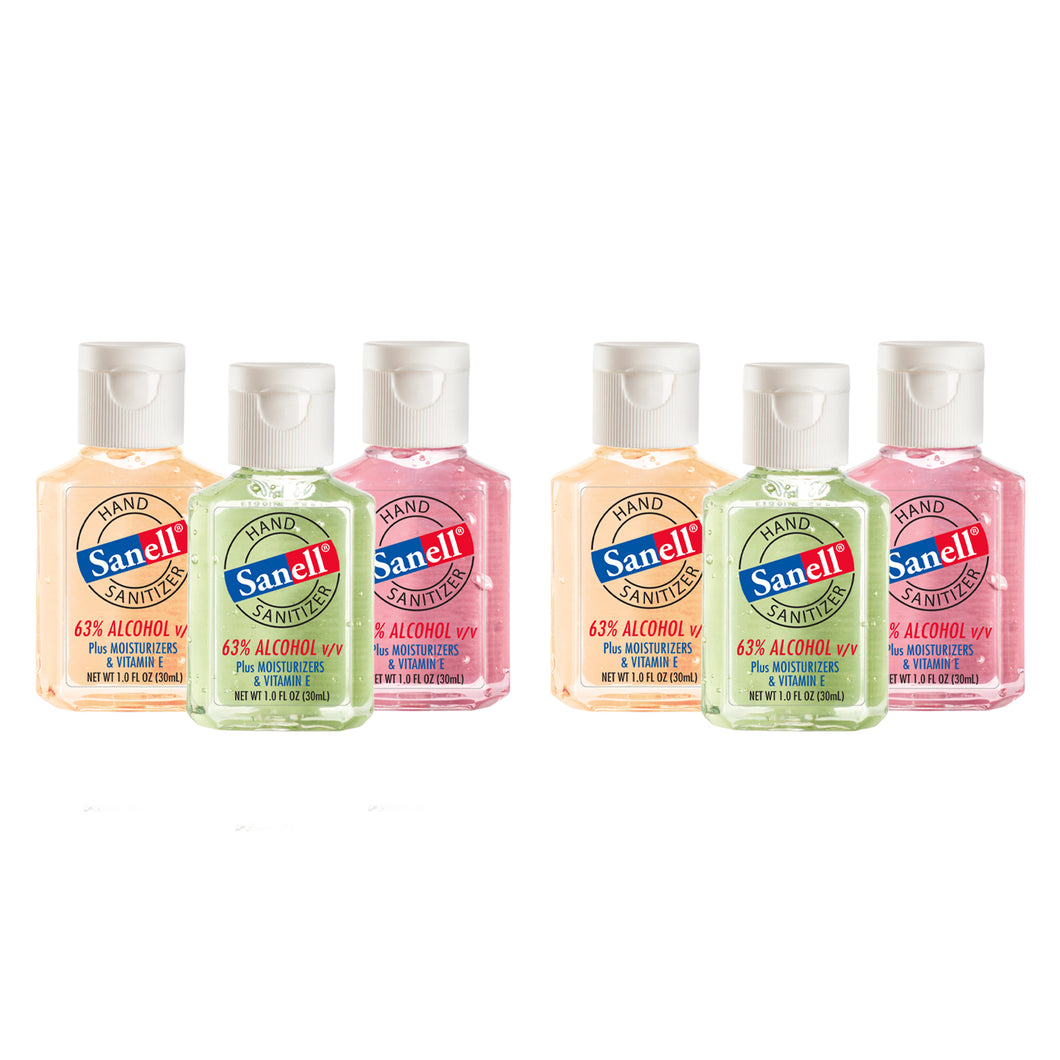 Sanell Instant Hand Sanitizer | Assorted Scents: Apple, Cucumber, Vanilla - 1oz Pack of 6 (2 of each scent)