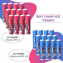 Load image into Gallery viewer, Chap-Ice Assorted Lip Balm + Gravity Feed Display -24 count (Moisture-spf 15; Cherry-spf 4)