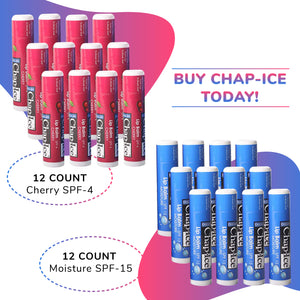 Chap-Ice Assorted Lip Balm + Gravity Feed Display -24 count (Moisture-spf 15; Cherry-spf 4)