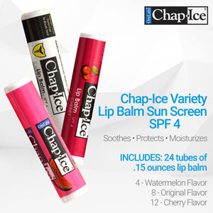 Chap-Ice Assorted Lip Balm - 24 count (12 Cherry, 8 Original and 4 Watermelon)