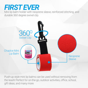 Mini Neoprene Sleeve | Lip Balm Holder with Swivel Clip - 3 pack