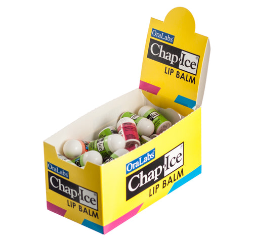 Chap-Ice Assorted Mini Lip Balm + Display Box ~ 50 Count (Cherry,Citrus Orange, Kiwi Lime)