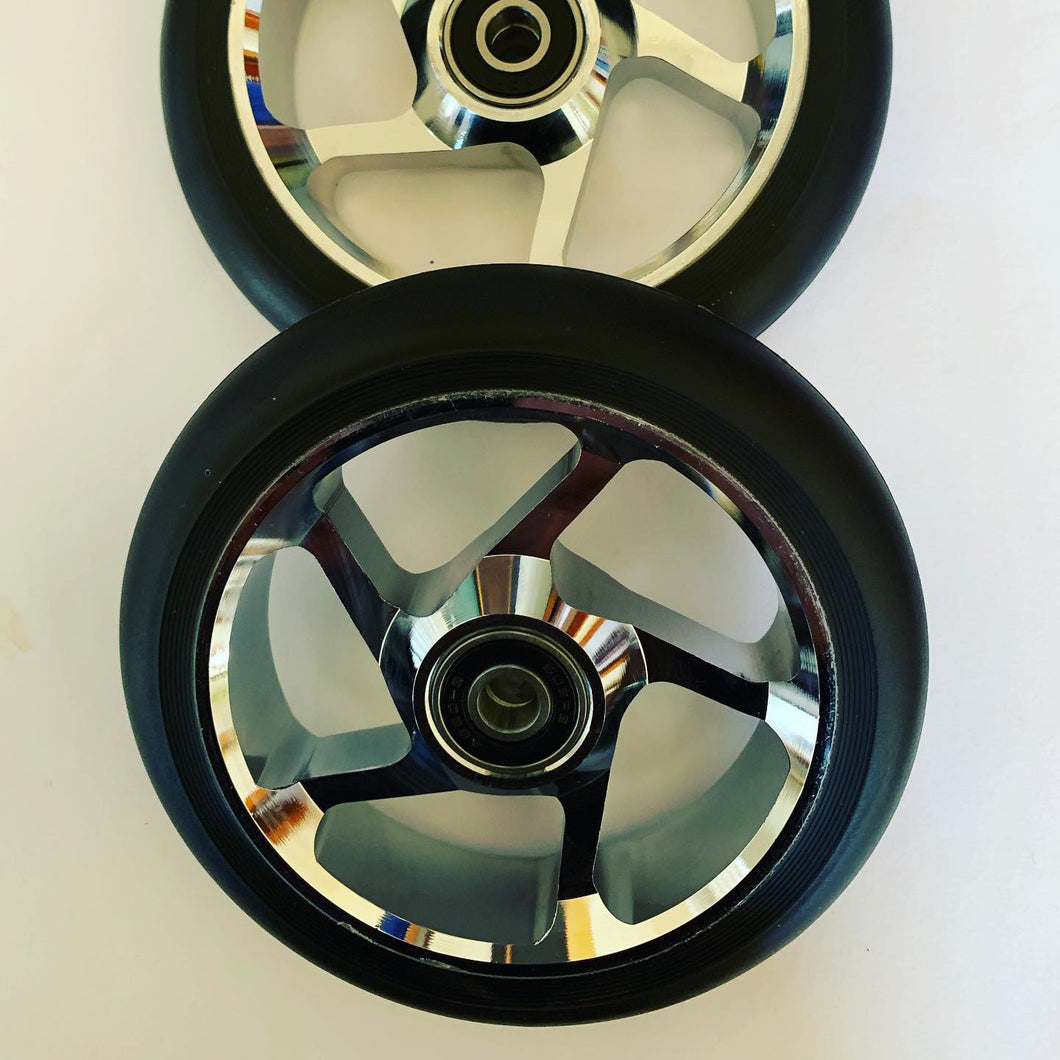 120mm 5 Spoke Black on Silver