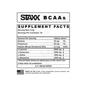 STAXX BCAAs Nutrition Facts