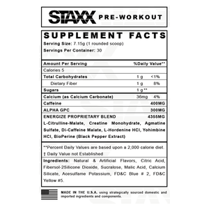 STAXX Pre-workout Nutrition Facts