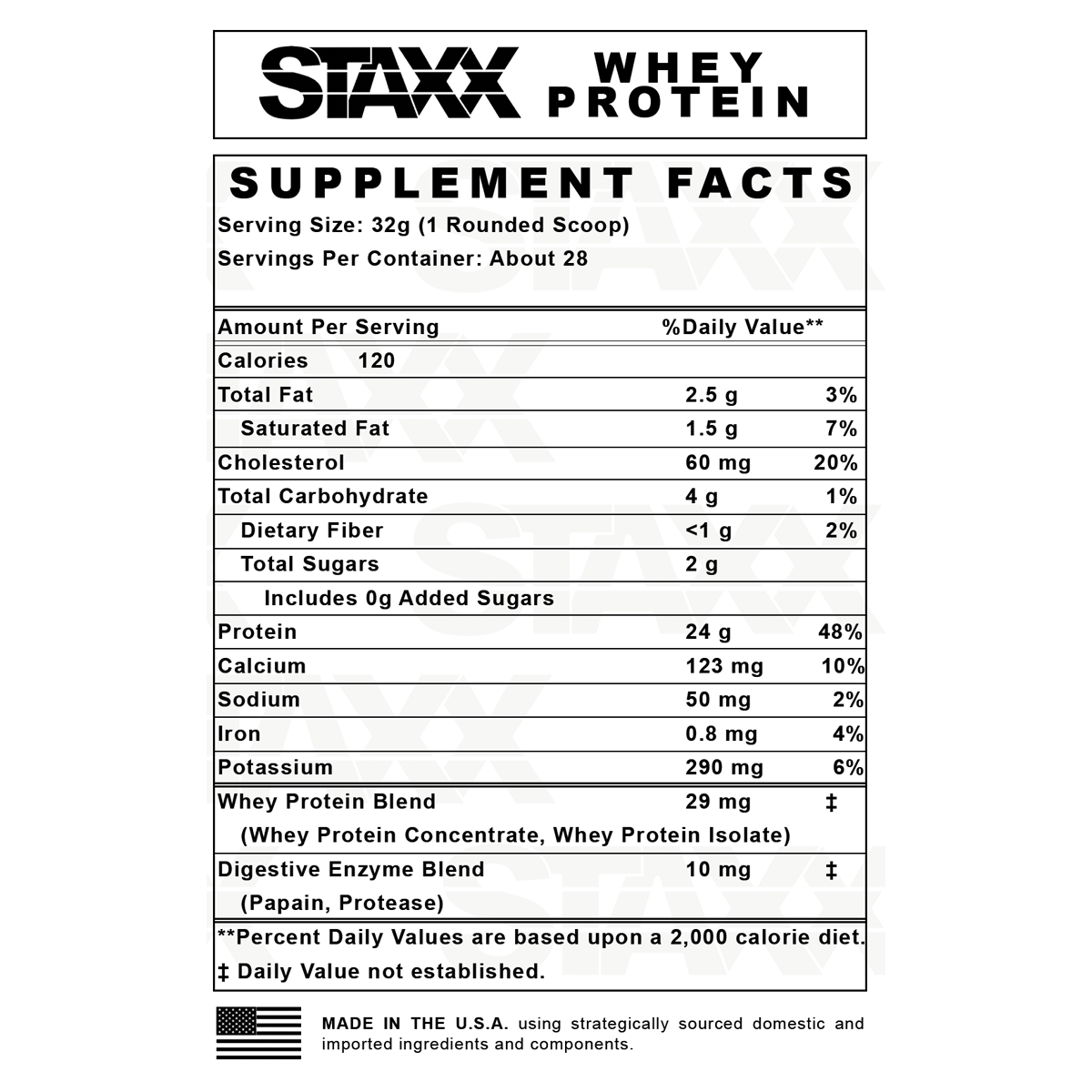 STAXX Whey Protein Nutrition Facts