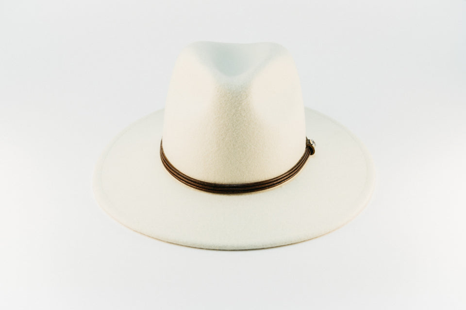 wide brim wool - ivory