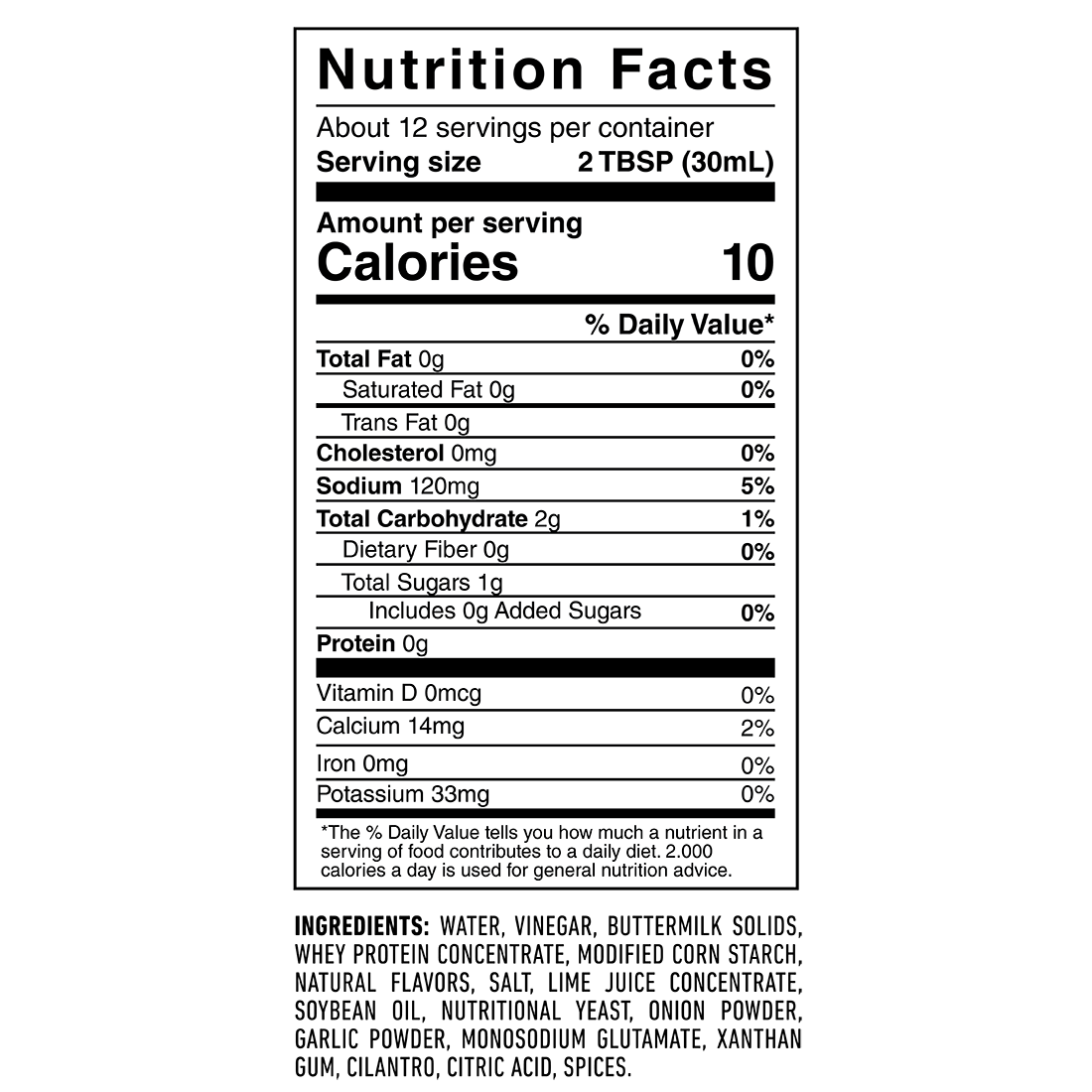 Cilantro Lime Ranch - Nutrition Results
