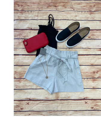 Pearl Gray Linen Tie Shorts