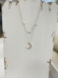 Silver Moon & Star Layered Fashion Necklace