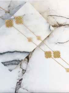 Gold Filigree Long Station Necklace