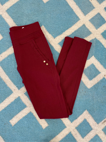 Burgundy High Waist Skinny Pant