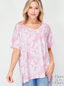Mauve/Ivory Plus Top w/Slight High Low Hem