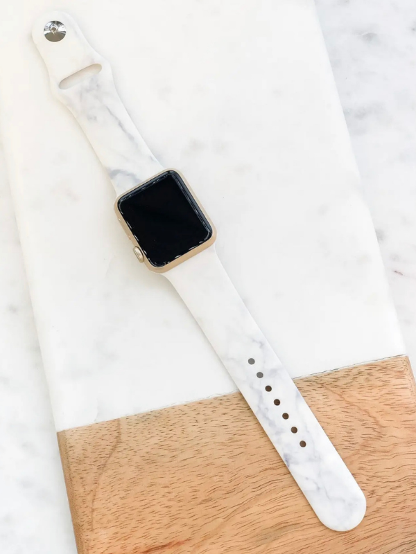 White Marble Silicone IWatch