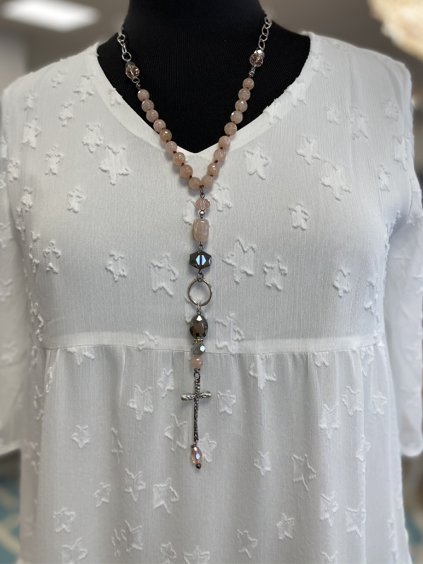 Lost and Found Knotted Ring & Cross Dangle Necklace