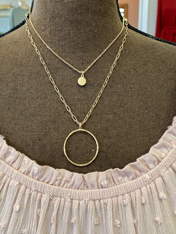 Matte Gold Layered w/Open Circle Necklace