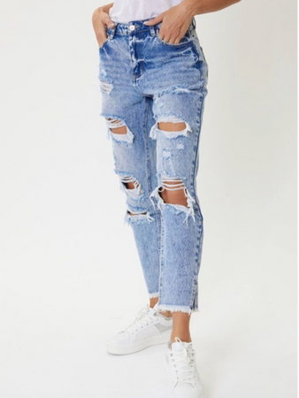 Kancan Meium High Rise Fray Hem w/Side Split Mom Jean