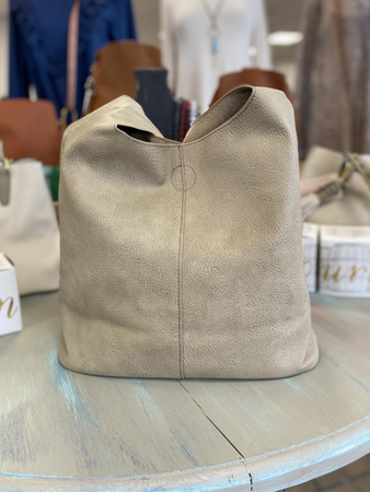 Taupe Slouch Hobo Bag