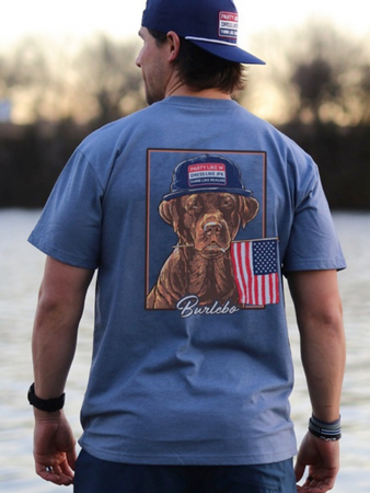 "Burlebo ""Dog and USA Flag"" T-Shirt"