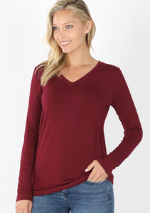 Dark Burgundy V-Neck Tee
