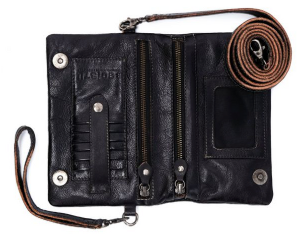 "Bed Stu ""Cadence"" Crossbody/Wristlit in Black Rustic"