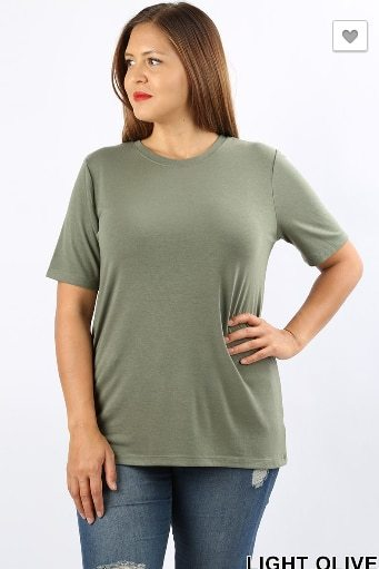 Light Olive Plus Size Relaxed Fit SS Top