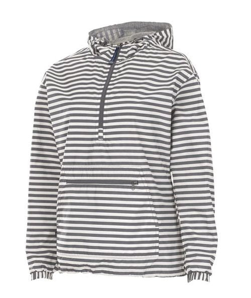 5809G Charles River Grey Striped Print Pullover w/ Lining