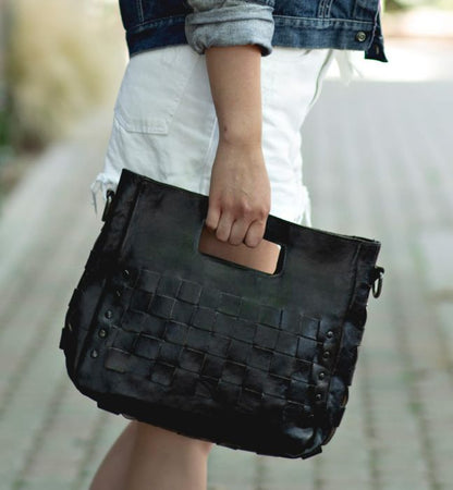 "Bed Stu Black ""Orchid"" Interwoven Handbag"