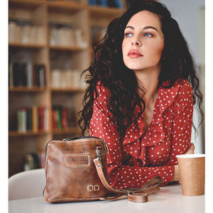 "Bed Stu ""Ventura"" Crossbody In Tan Rustic Mason"