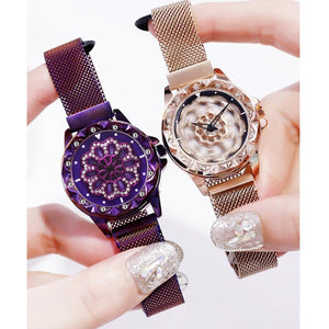 Rotate Dial Women Watch Mesh Magnet Starry Sky Ladies