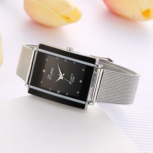 Women Bracelet Watch Silver Square Luxury Crystal Alloy WristWatches