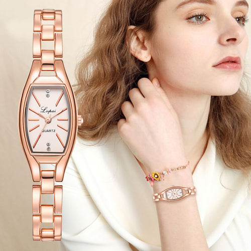 Rose Gold Casual Quartz Ladies Bracelet Wristwatches