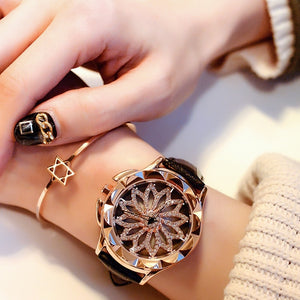 Rose Gold Unique Dial Design Luxury Bracelet Ladies