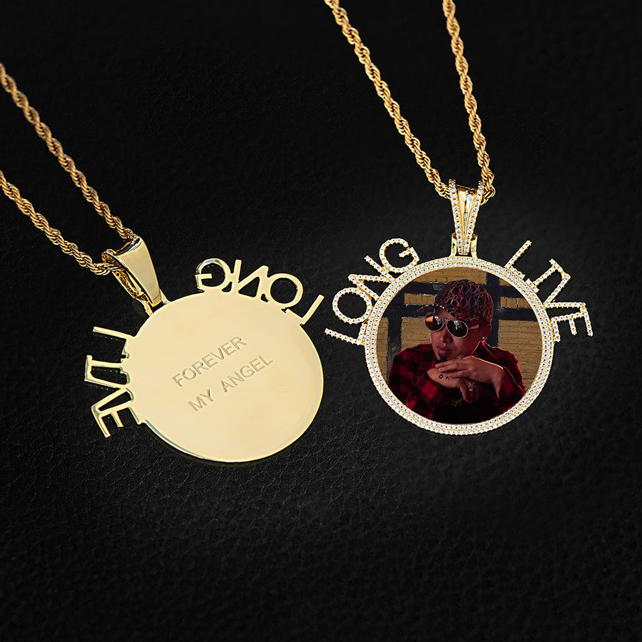 Diamond Custom Personalized Letter Picture Photo Necklace In White Yellow Rose Gold DRMD Jewelry