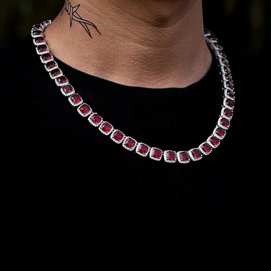 Red Stone Glacier Clustered Tennis Chain in White Gold